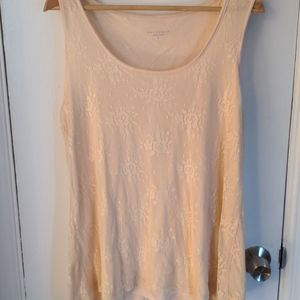 Beige shell with lace overlay